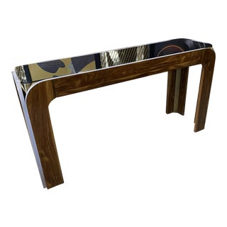 Vintage Milo Baughman U Shaped Smoked Glass Top Console Table For Sale