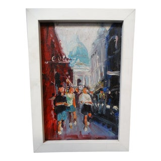 Late 20th Century Street View: Tourists, St Paul's Cathedral, London Oil on Board Painting For Sale