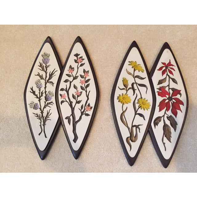 Atomic-Style Floral Wall Plaques - Set of 2 - Image 2 of 8