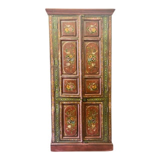 Antique Indian Red Painted Floral Birds Accented Armoire For Sale