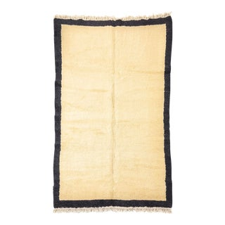 Vintage Handmade Turkish Tulu Beige and Black Tribal Wool Area Floor Rug, 5' X 8' For Sale