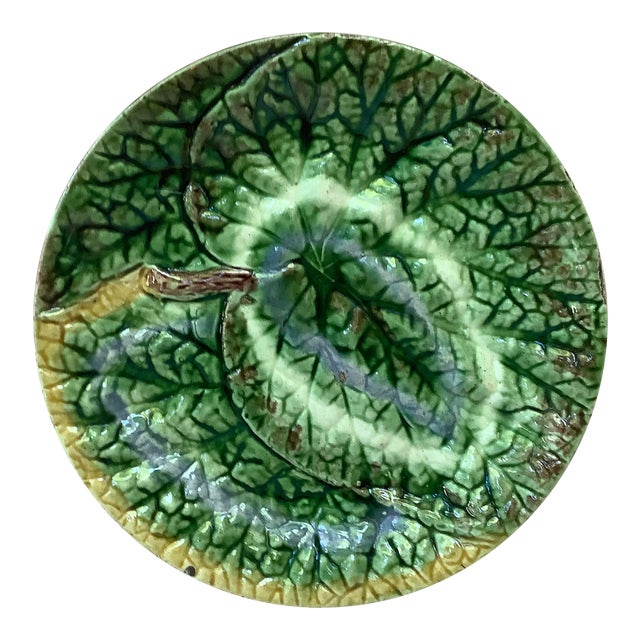 19th-Century English Majolica Begonia Plate For Sale