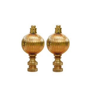 Ribbed Brass Ball Finials - a Pair For Sale