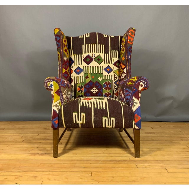 Mid-Century Modern 1940s Danish Wingchair, Semi-Antique Turkish Kilim Cover For Sale - Image 3 of 12