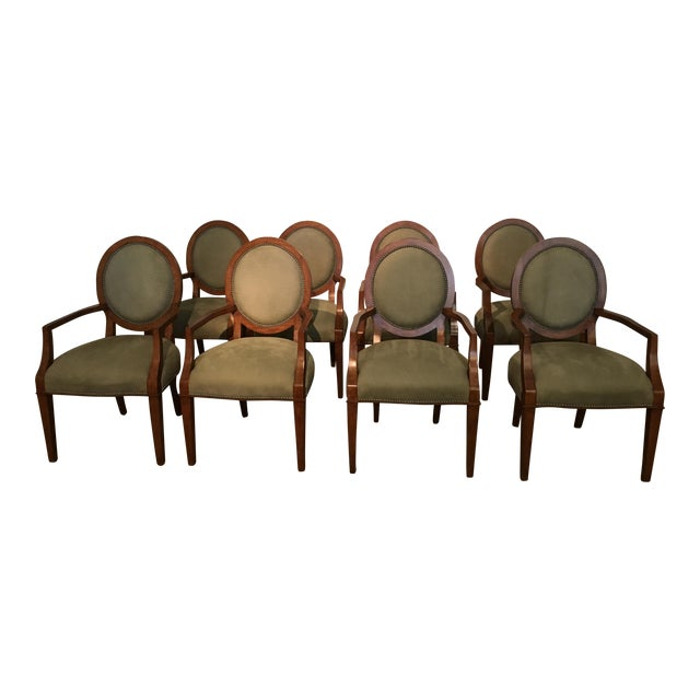 Italian Tapestry & Leather Wood Arm Chairs - Set of 8 For Sale