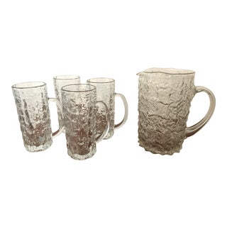 Vintage Cracked Ice Glass Barware Set - Set of 5
