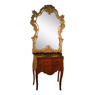 Early 20th Century Antique French Rococo Style Bombe Chest & Carved Gilt Mirror - 2 Pieces For Sale