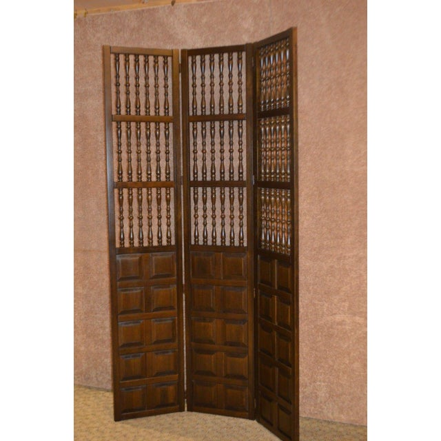 Vintage Jacobean Style Wood Room Divider For Sale - Image 11 of 13