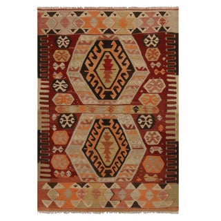 "1940's Vintage Gal Burgundy Kilim Rug-3'4'x4'5"" For Sale"