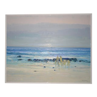"Italo Botti ""Family at the Beach"" Impasto Oili Painting C.1980s For Sale"