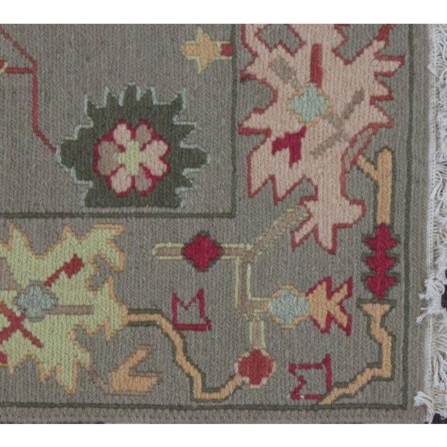 Green Soumak Design Hand Woven Wool Rug - 3′ × 5′ - Image 3 of 5