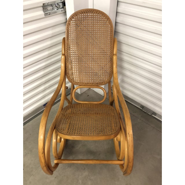 Wood 19th Century Thonet Bentwood & Cane Wood Rocker Rocking Chair For Sale - Image 7 of 13
