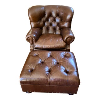 Ralph Lauren Leather Writer's Chair & Ottoman For Sale