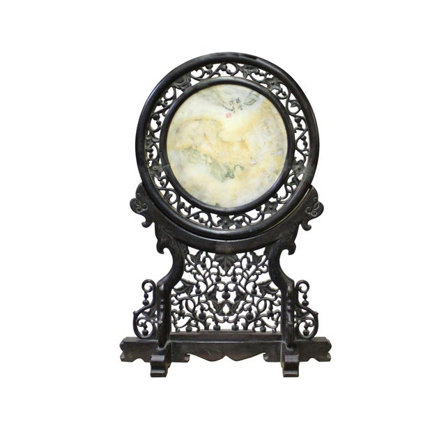 Chinese Dream Stone Fengshui Round Table Top Display Art For Sale - Image 9 of 9