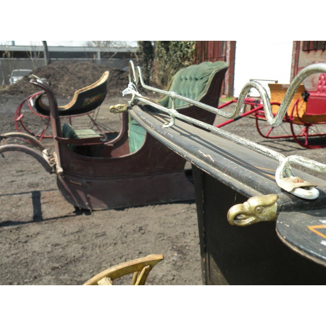Red Antique Portland Cutter Sleigh Christmas Sled For Sale - Image 8 of 10