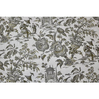 Schumacher Asian Toile Linen in Graphite & Yellow - 6 Yards For Sale