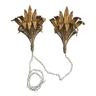 Hollywood Regency Gilt Metal Pair of Wall Sconces - a Pair For Sale