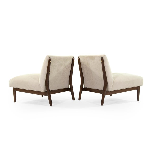 Metal 1950s Paul McCobb Velvet Upholstered Mahogany Slipper Chairs - a Pair For Sale - Image 7 of 13