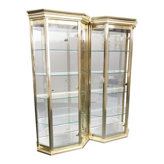 Mastercraft Brass Vitrine Display Cabinets - A Pair For Sale