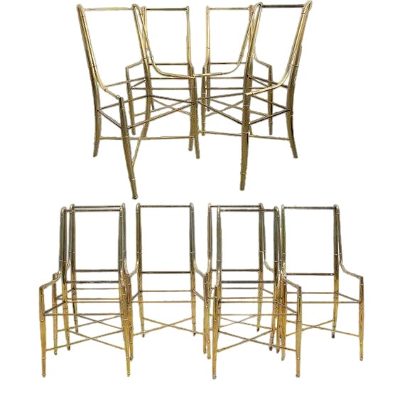 """Mid-Century Modern Weiman/Warren Lloyd for Mastercraft """"Imperial"""" Brass Dining Chairs With White Ultrasuede Upholstery - a Set of 10 For Sale"""