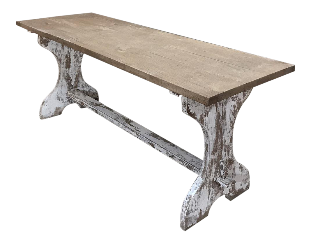 Antique Rustic Painted Country French Trestle Table ~ Sofa Table For Sale