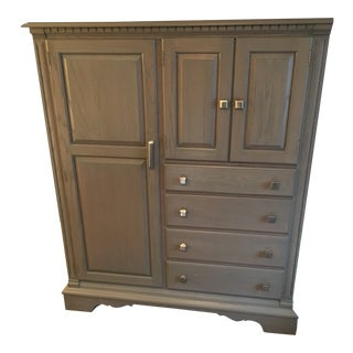 1980s Transitional Gray Patina Stained Armoire For Sale