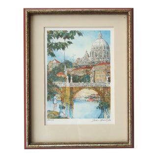 John Speirs Rome Banks of the Tiber Vintage Lithograph