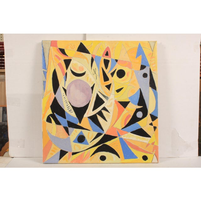 1988 Abstract Composition in Yellow and Black by Lars Larsen For Sale - Image 4 of 4