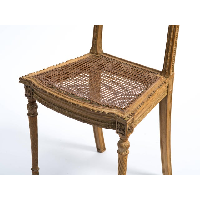 French 1920s Vintage Hand-Carved French Caned Side Chair For Sale - Image 3 of 8