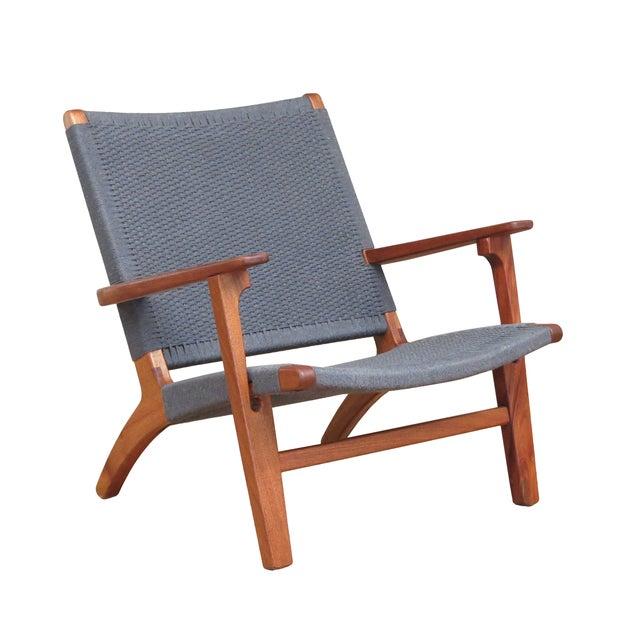 Mid Century Modern Gray Mahogany Lounge Chair - Image 1 of 5