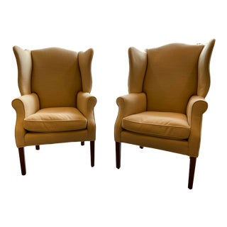 1920s Antique Mahogany, Belgian Linen and Down Cushion Wingback Chairs - a Pair For Sale