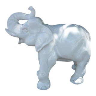 1970s Italian Decorative High Fired Glazed Terracotta White Elephant For Sale