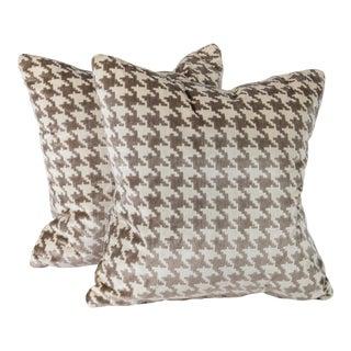 """18"""" Italian Highland Court Velvet Houndstooth Pillows, Pair For Sale"""