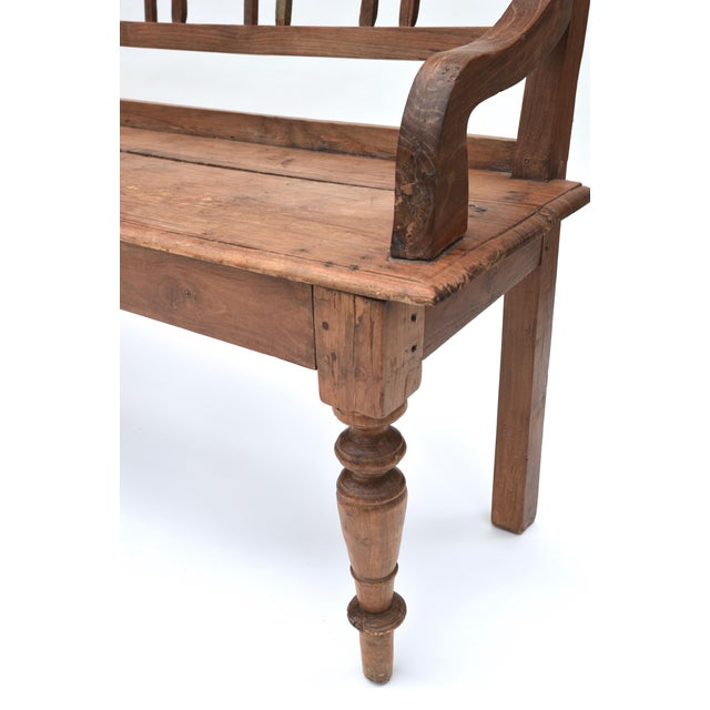 Antique Teak Country Bench For Sale In Los Angeles - Image 6 of 7