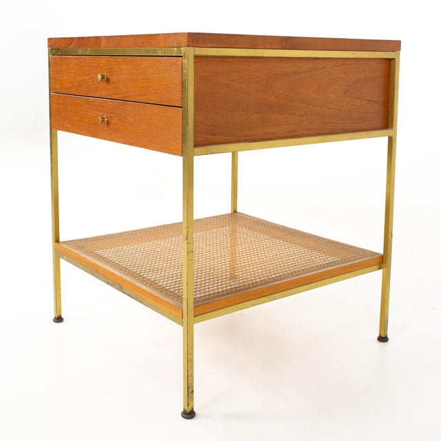 Mid 20th Century Paul McCobb for Calvin Group Mid Century Oak and Brass Nightstand For Sale - Image 5 of 13