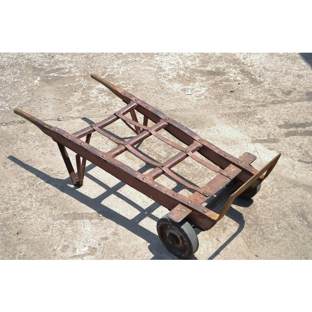 Antique Industrial Steampunk Distressed Iron & Wood Hand Truck Cart Coffee Table For Sale - Image 5 of 11