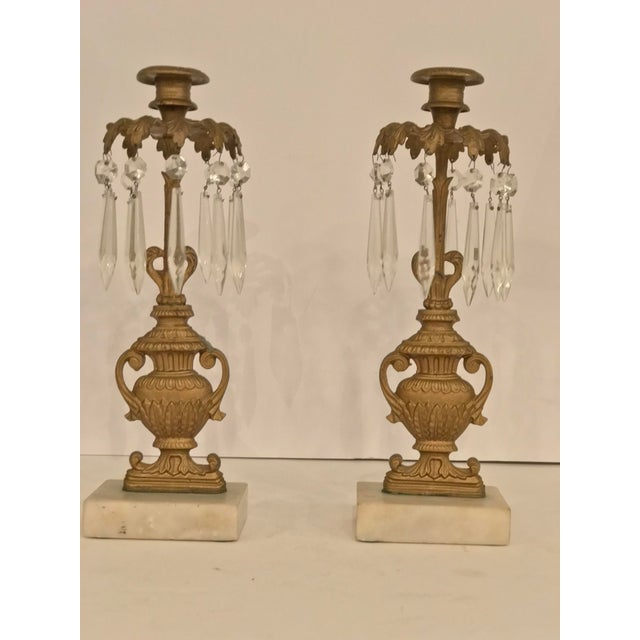 Bronze Mid 19th Century Gilded Bronze Garniture Candlesticks - a Pair For Sale - Image 7 of 7