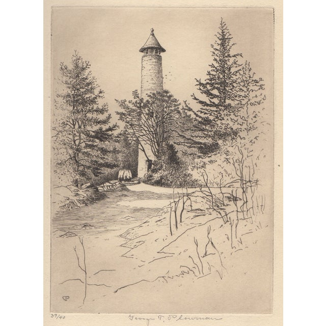 George T. Plowman The Tower Dartmouth Etching For Sale