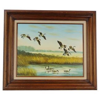 """Pasargad DC Original """"Lakeside with Birds"""" Oil Painting on Wood For Sale"""