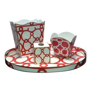 Dana Gibson Tray, Wastebasket Holder, Tissue Box Cover & Cachepot- 4 Pieces For Sale