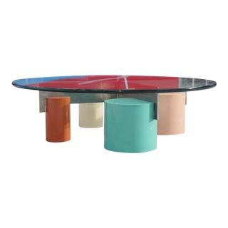 1980's Postmodern Saporiti Italia Low Coffee Table For Sale