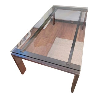 "Room & Board Stainless Steel and Glass ""Rand"" Coffee Table"