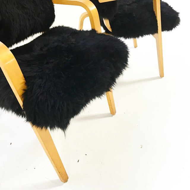 1970s Forsyth One of a Kind Black Sheepskin Armchairs In The Style of Joe Atkinson for Thonet- Pair For Sale - Image 5 of 7