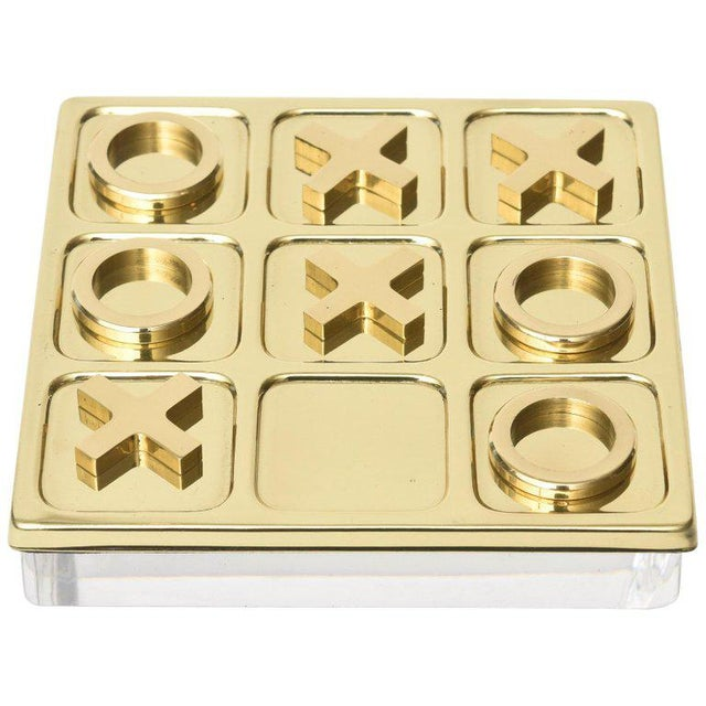 Brass Tic Tac Toe Game Mid-Century Modern For Sale - Image 9 of 9