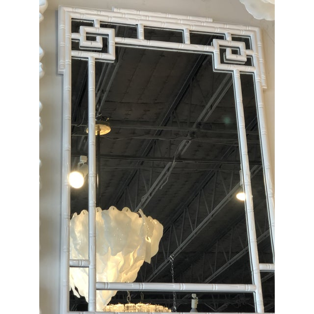 White Vintage Palm Beach White Lacquered Greek Key Faux Bamboo Wall Mirror For Sale - Image 8 of 11