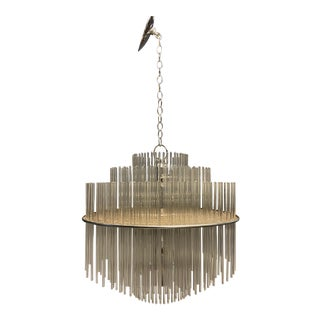 Mid-Century Glass Rod Chandelier For Sale