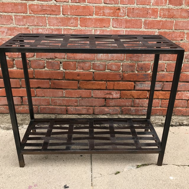 Woven Metal Console Table - Image 3 of 7