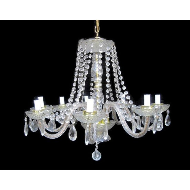 Gold Crystal Waterfall Chandelier For Sale - Image 8 of 8
