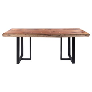 Acacia Wood Live Edge Table on Matte Black Metal Legs