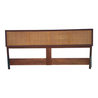 Mid-Century Modern Founders Furniture Walnut and Cane King Headboard For Sale